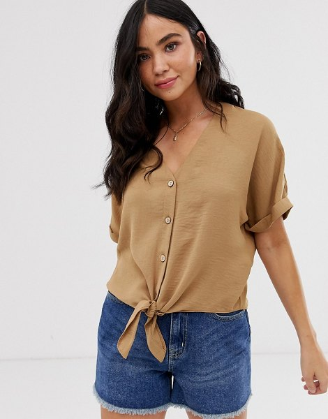 New Look button down tie front blouse in camel-tan in tan