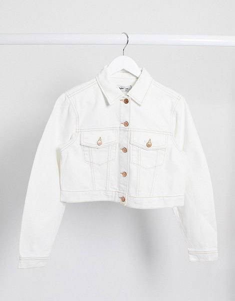 New Look cropped denim jacket in off white in white