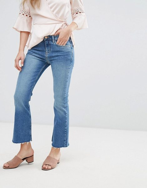 NEW LOOK Kick Flare Frayed Hem Jeans - Jeans by New Look, Firm-stretch denim, High-rise waist, Zip...