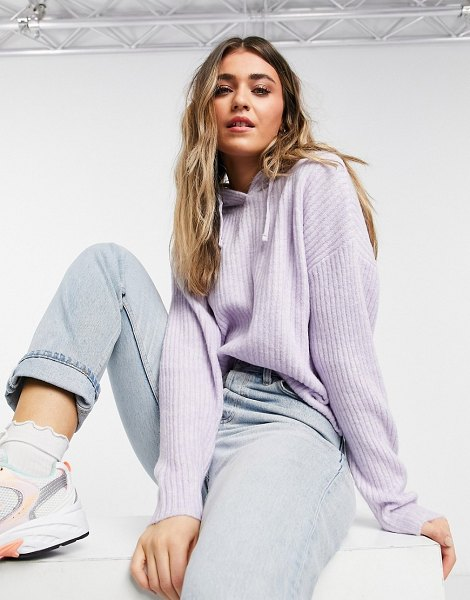 New Look knitted ribbed hoodie in lilac-purple in purple