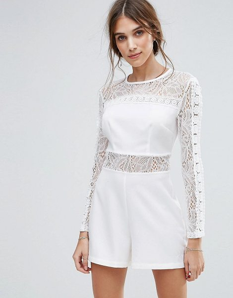 "New Look lace insert romper in white - """"Romper by New Look, Woven fabric, Round neck, Sheer..."