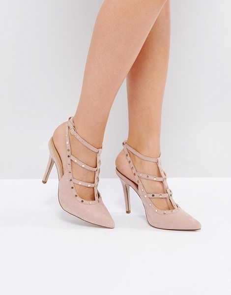 "NEW LOOK Studded Strappy Heeled Shoe - """"Heels by New Look, Faux-suede upper, Ankle-strap..."