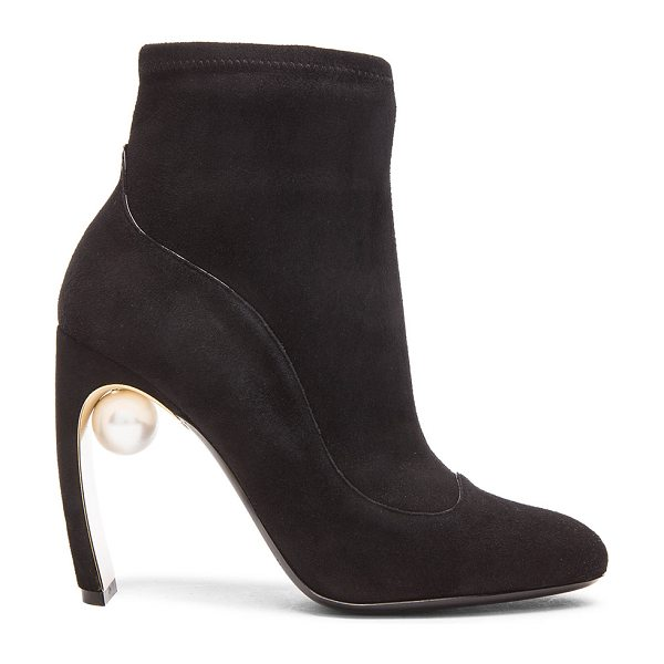 Nicholas Kirkwood 105mm Maeva Suede Pearl Ankle Booties in black - Suede upper with leather sole.  Made in Italy.  Approx...