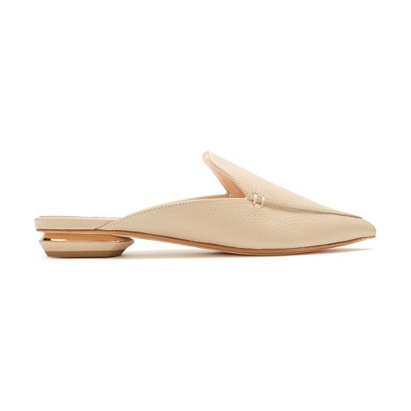 Nicholas Kirkwood beya grained leather backless loafers in light beige