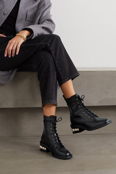 Nicholas Kirkwood casati embellished leather ankle boots in black