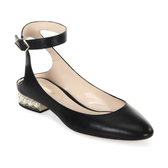 Nicholas Kirkwood lola pearl leather ankle strap ballet flats in black - Sleek leather ankle-strap flat poised on pearly heel....