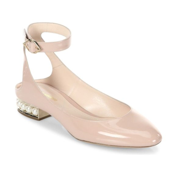 Nicholas Kirkwood lola pearl patent leather ankle strap ballet flats in light blush - Glossy patent ankle-strap flat poised on pearly heel....