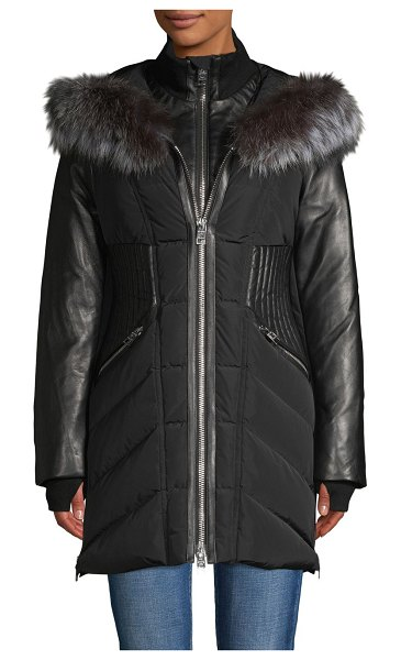 Nicole Benisti Series Courcheval Leather & Fox Fur Trim Down Jacket in black