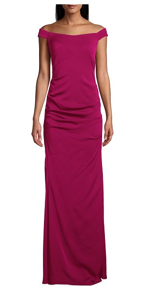 Nicole Miller Stretch Crepe Off-the-Shoulder Column Gown in raspberry