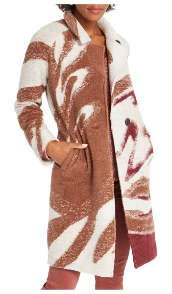 NIC+ZOE abstract waves sweater coat in neutral multi