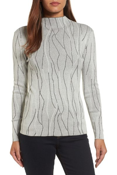 NIC+ZOE artisanal crackle jacquard sweater in chalk - Organic lines reminiscent of raku-fired pottery make an...