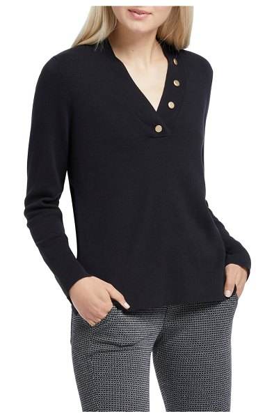 NIC+ZOE button knit top in black onyx