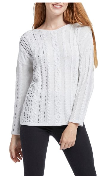 NIC+ZOE cable stud sweater in silver mix
