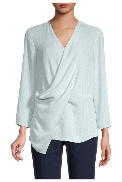 NIC+ZOE Draped Tonal Print Top in blue
