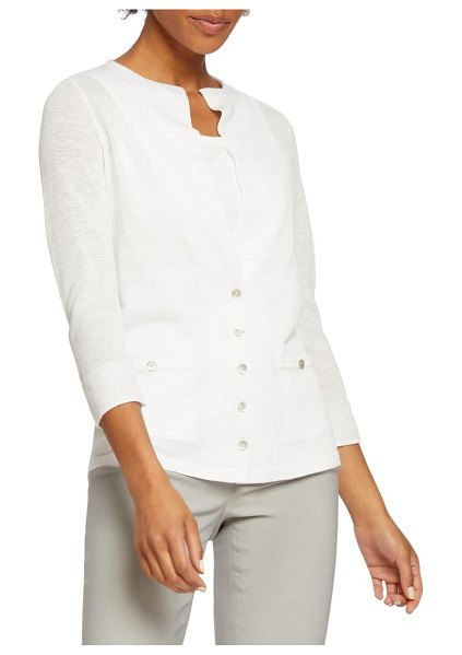 NIC+ZOE event day linen blend knit cardigan in paper white
