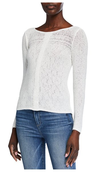 NIC+ZOE Long-Sleeve Sheer Illusion Sweater Top in paper white
