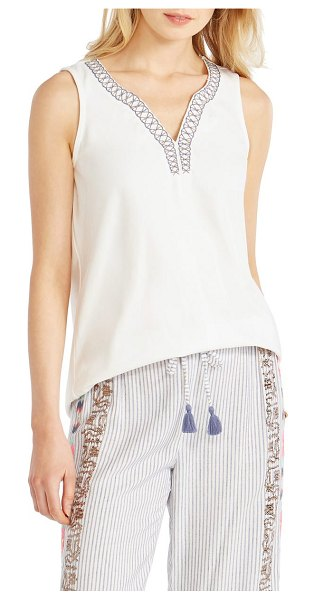 NIC+ZOE plover embellished tank in paper white