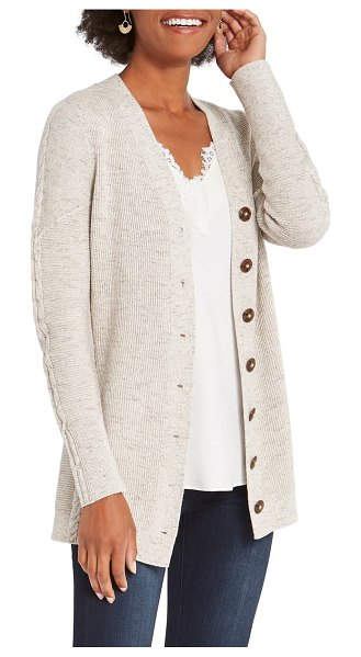 NIC+ZOE rib cable cotton blend cardigan in neutral multi