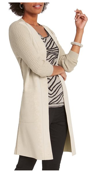 NIC+ZOE royal impression faux suede & knit jacket in putty