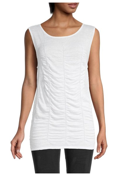 NIC+ZOE Ruched Tank in paper white