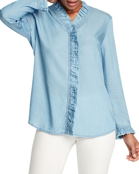 NIC+ZOE Ruffled Up Denim Shirt in mid denim