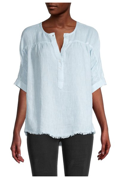 NIC+ZOE Spring Time Linen Top in blue