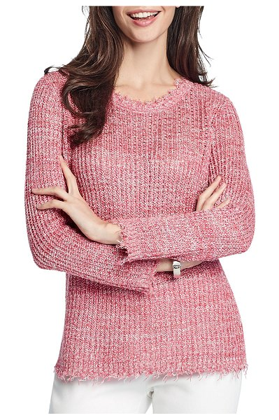 NIC+ZOE Sunrise Frayed-Edge Sweater in raspberry mix