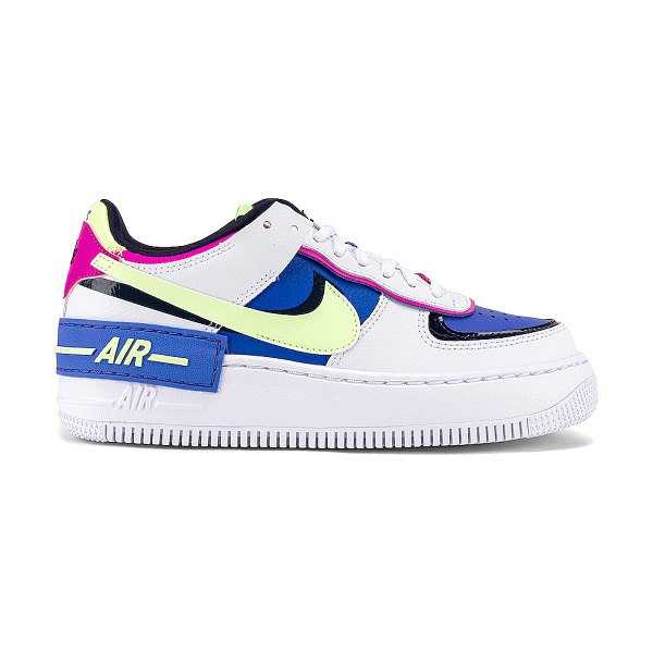 Nike af1 shadow sneaker in white  barely volt & sapphire
