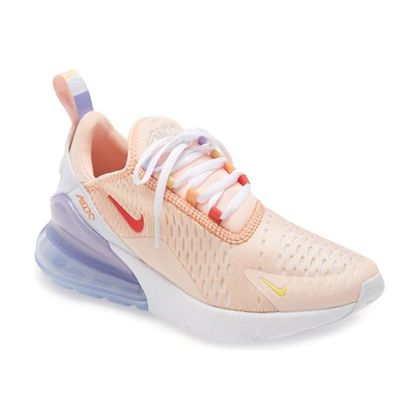 Nike air max 270 premium sneaker in washed coral/track red-white