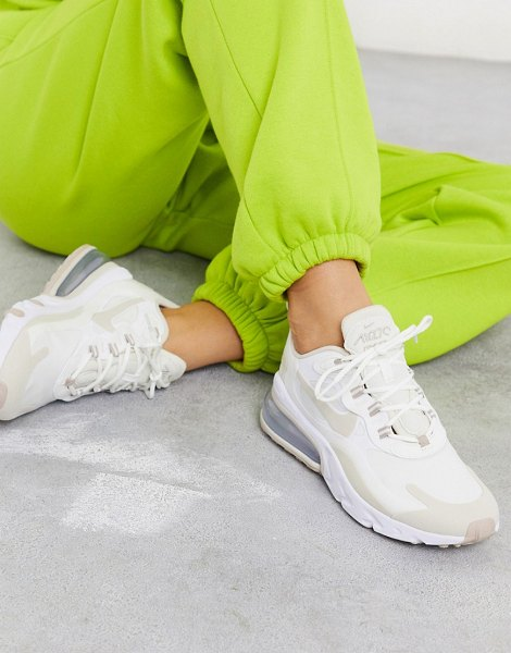 Nike air max 270 react trainers in white and beige in white