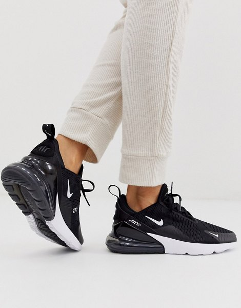 Nike air max 270 trainers in black and white in black