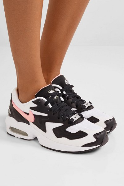 Nike air max2 light mesh, faux leather and suede sneakers in black