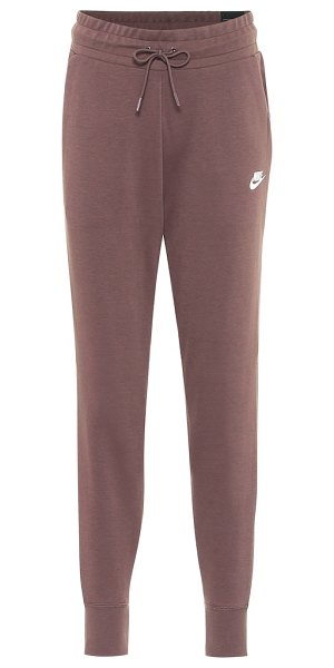 Nike cotton-blend jersey trackpants in brown