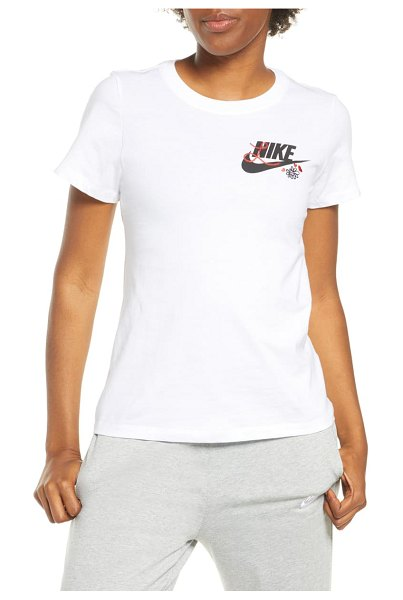 Nike embroidered logo t-shirt in white/ black
