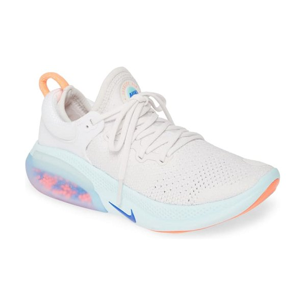 Nike joyride run flyknit running shoe in white/ racer blue/ platinum