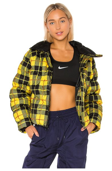 Nike plaid pack fill jacket in chrome yellow & black