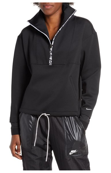 Nike pro dri-fit fleece crop half zip top in black/ metallic silver