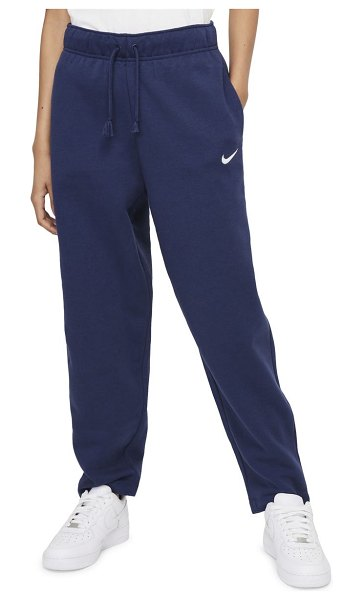 Nike sportswear essentials curve ankle pants in midnight navy/ white