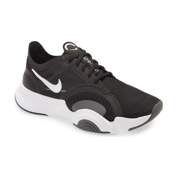 Nike superrep go training shoe in white/ black/ smoke grey