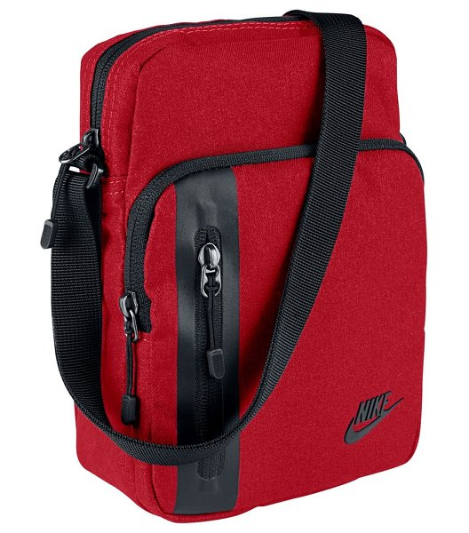 Nike tech small items bag in university red/ black