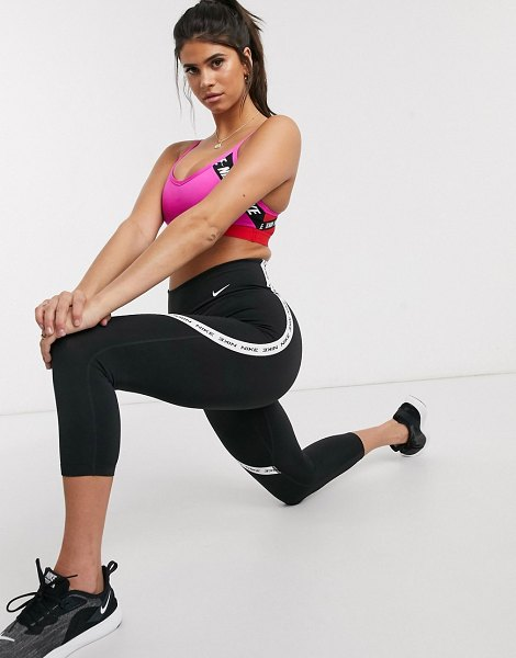 Nike Training one tight cropped legging with logo taping in black in black