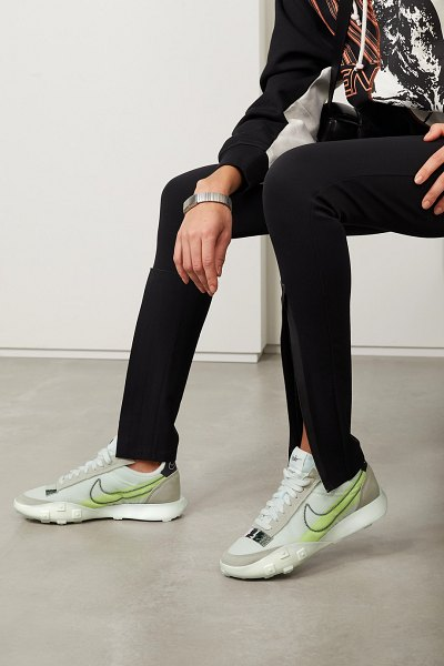 Nike waffle racer 2x rubber-trimmed ripstop and suede sneakers - off-white in white