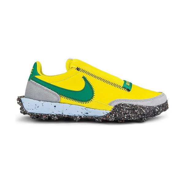 Nike waffle racer crater sneaker in yellow strike  roma green  & photon dust