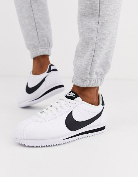 Nike white and black classic cortez leather sneakers in white