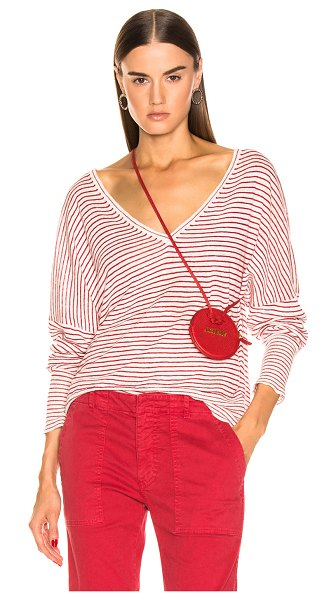 NILI LOTAN Maggie Sweater in red,stripes,white - Cotton blend.  Made in USA.  Dry clean only.  Fine knit...
