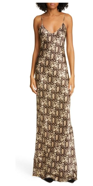 NILI LOTAN snake print silk evening dress in dark brown snake print