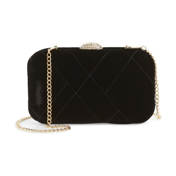 Nina barlow quilted velvet minaudiere in black - A pretty clasp covered in sparkling crystals crowns a...