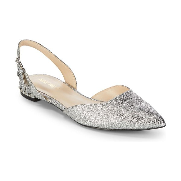 NINE WEST Metallic Slingback Flats in silver - Luxe slingback flats in shimmering accent. Man-made...