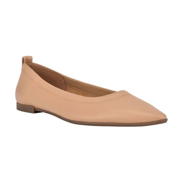 Nine West raya pointed toe flat in nude leather