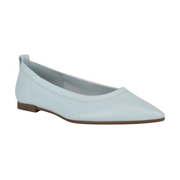 Nine West raya pointed toe flat in light blue leather